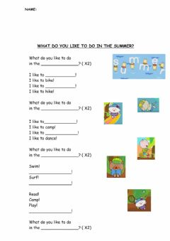 Ficha interactiva What do you like to do in the summer?