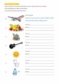 Interactive worksheet Needs and wants