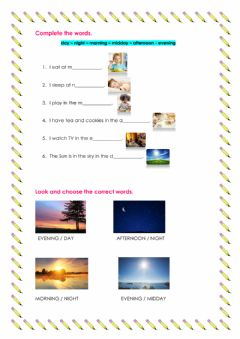 Interactive worksheet Parts of Day
