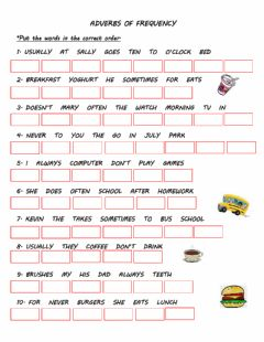 Interactive worksheet Adverbs of frequency
