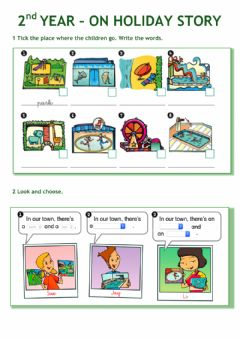 Interactive worksheet 2nd YEAR - ON HOLIDA STORY