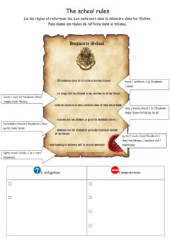 Interactive worksheet Compare Rules at Hogwarts and in france - MUST - MUSTN'T - CAN