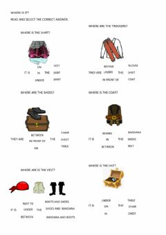 Interactive worksheet Pirate clothes and prepositions