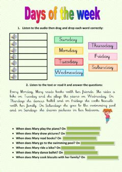 Interactive worksheet Days of the week