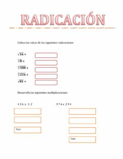 Interactive worksheet Radicación