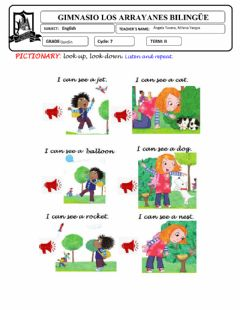 Interactive worksheet Pictionary look up, look down!