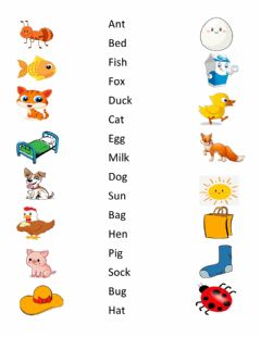 Ficha interactiva Short vowel sounds matching