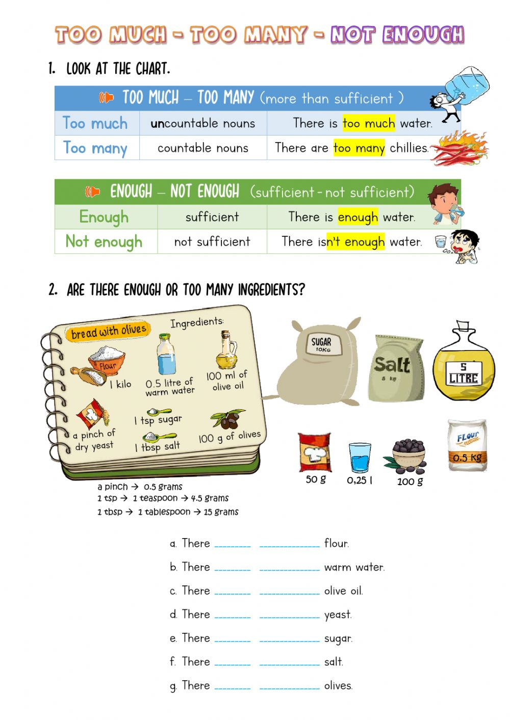 Too much-too many-not enough - Interactive worksheet