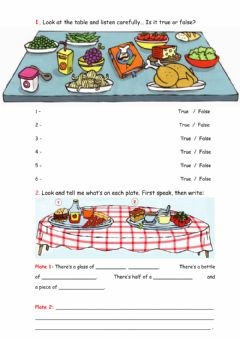 Interactive worksheet What's on the table?
