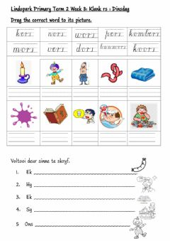 Ficha interactiva FAL:Afrikaans Term 2 Week 8: Tuesday rs klank grade 3
