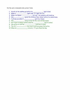 Interactive worksheet Time Clauses 1
