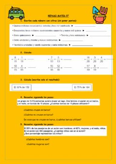 Interactive worksheet Repaso mates 5º