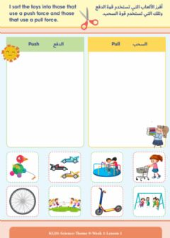 Interactive worksheet KG1 Science Pull and Push lines
