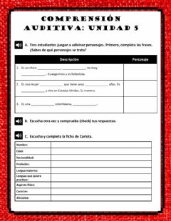 Interactive worksheet Comprensión auditiva unidad 5