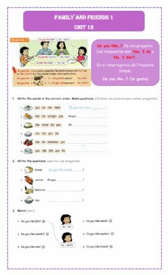 Interactive worksheet Family and friends 2 unit 12