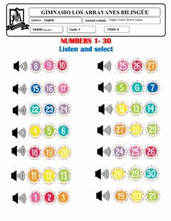 Interactive worksheet Review Numbers 1-30