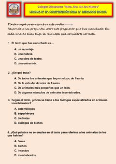 Interactive worksheet Comprensión oral IV. Menudos bichos.