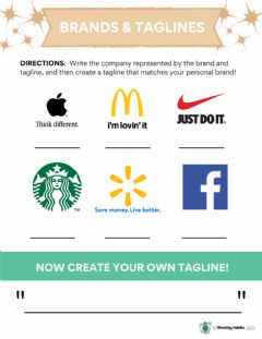 Interactive worksheet Wealthy Habits Brands and Taglines