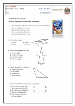 Ficha interactiva Revision Worksheet - 1 on Ch-12 Geometry