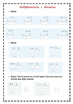 Interactive worksheet Multiplicacions idivisions