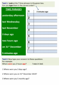 Interactive worksheet Order the time phrases