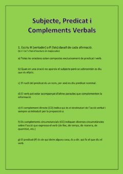 Interactive worksheet Subjecte, Predicat i Complements verbals