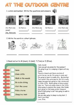 Interactive worksheet At the outdoor centre