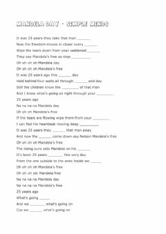 Interactive worksheet Listening - MANDELA DAY by Simple Minds