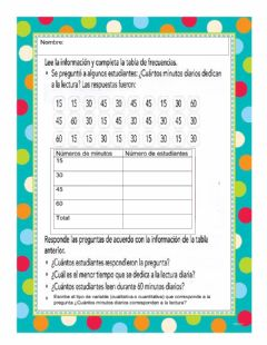 Interactive worksheet Tablas de frecuencia