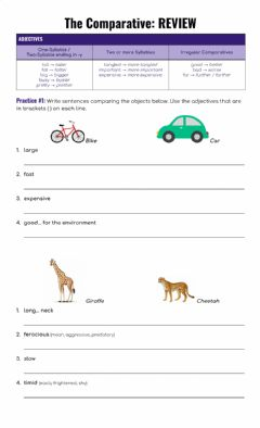 Interactive worksheet The Comparative - Review