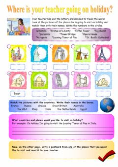 Interactive worksheet Monuments