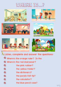 Interactive worksheet Where's...? Places in a school