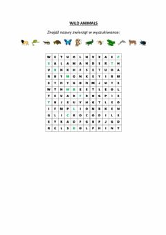 Interactive worksheet Wild animals wordsearch