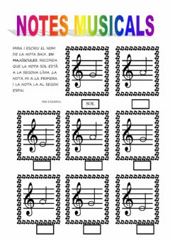 Interactive worksheet Notes musicals s-m-l