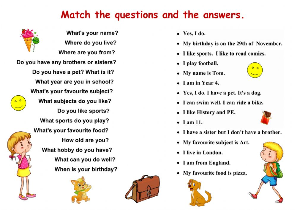 Matching questions and answers worksheet
