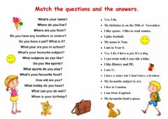 Interactive worksheet Matching questions and answers