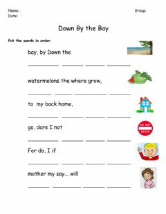 Interactive worksheet Down By the Bay Word Order Exercise