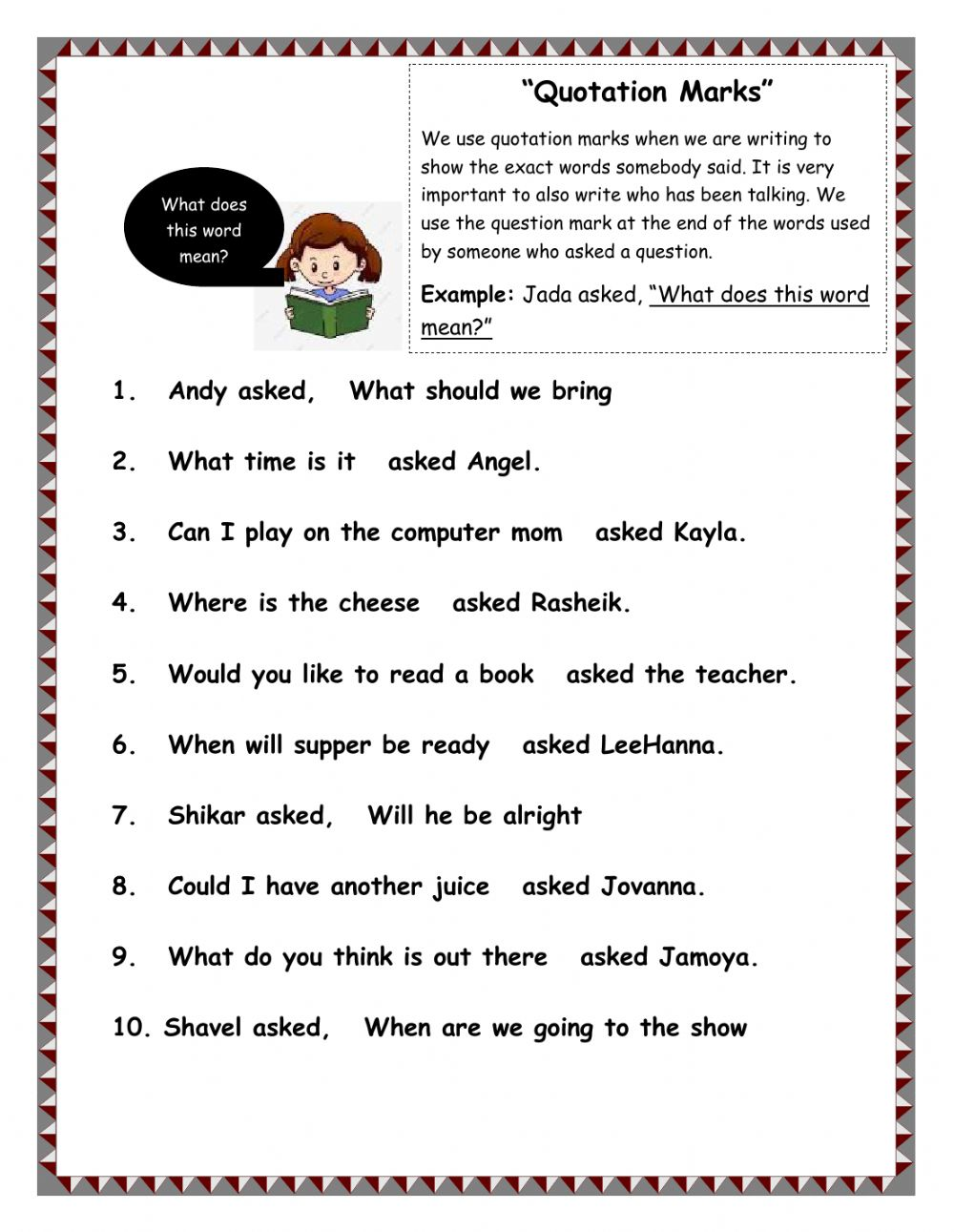 Quotation Marks Interactive worksheet