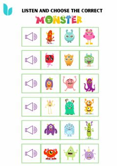 Interactive worksheet Listen and choose the correct monster.