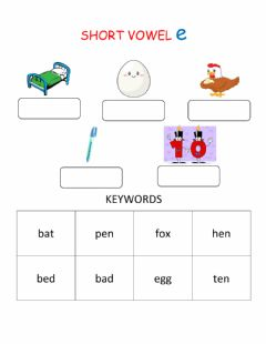 Interactive worksheet Short Vowel Sound E