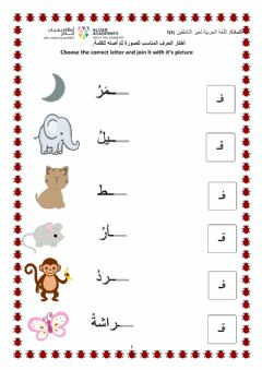 Ficha interactiva Fa' and Qaf Arabic letters
