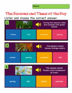 Interactive worksheet The Seasons and Times of the Day