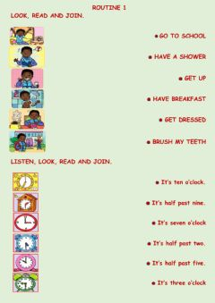 Interactive worksheet Routine and time