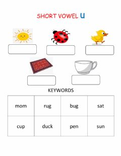Interactive worksheet Short Vowel Sound U