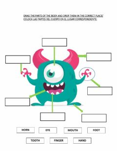 Interactive worksheet Monsters- parts of the body