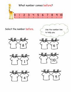 Interactive worksheet Number before