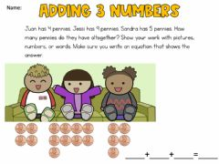 Interactive worksheet Adding 3 numbers