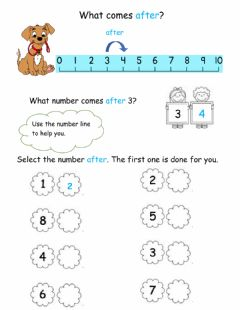 Interactive worksheet Number after