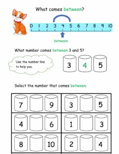 Interactive worksheet Number between