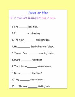 Interactive worksheet Has or have